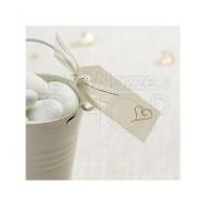 Etichette in carta con cuore moderno avorio e oro 10 pezzi