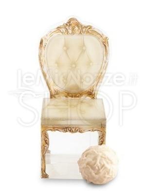 Box a forma di sedia re/regina argento 10 pezzi