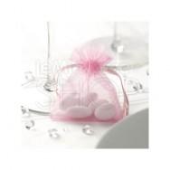 Sacchetti portaconfetti in organza rosa 10 pezzi
