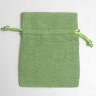 Sacchetto portaconfetti verde in cotone misura media 24 pezzi