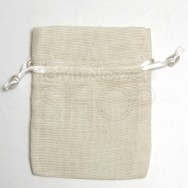 Sacchetto portaconfetti avorio in cotone misura media 24 pezzi