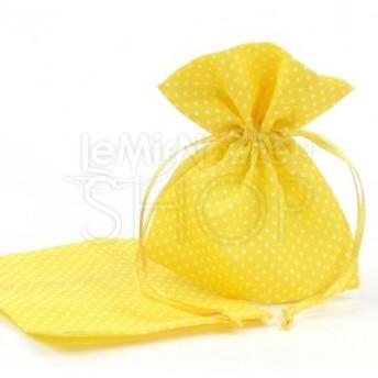 Sacchetti portaconfetti a pois giallo 24 pezzi