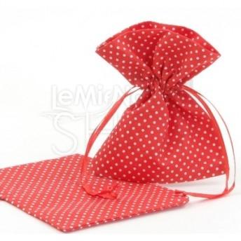 Sacchetti portaconfetti a pois rosso 24 pezzi