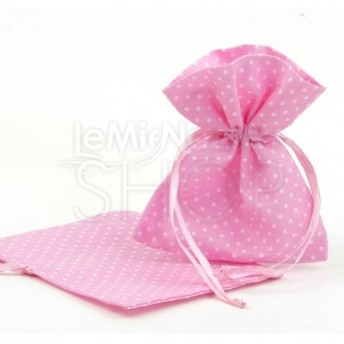 Sacchetti portaconfetti a pois rosa 24 pezzi