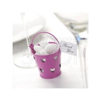 Secchiello porta confetti in latta fucsia 5 pezzi