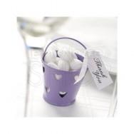 Secchiello porta confetti in latta viola 5 pezzi
