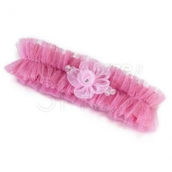 Giarrettiera in tulle rosa