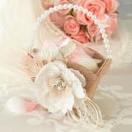 Cestino porta petali stile country con fiore e perle