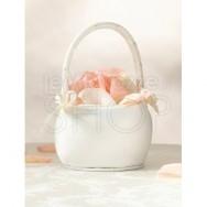 Cestino porta petali con fiocchi avorio