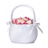 Cestino porta petali con fiocchi bianchi
