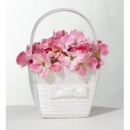 Cestino porta petali fiocco bianco
