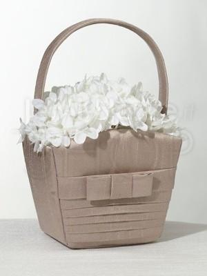 Cestino porta petali con fiocco tortora
