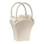 Cestino porta petali con perle avorio