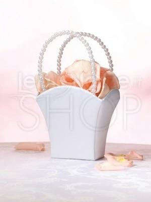 Cestino porta petali con perle bianche