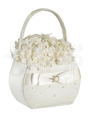 Cestino porta petali in raso con perle