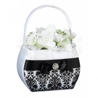 Cestino porta petali bianco con merletto nero