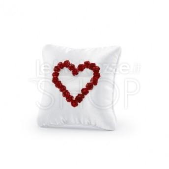 Cuscino porta fedi cuore rosso