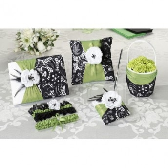 Set guestbook, cuscino porta fedi e porta petali verde