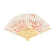 6 ventagli in seta con stampa corallo
