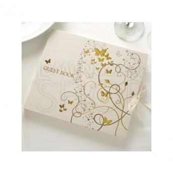 Guestbook con farfalle colore oro