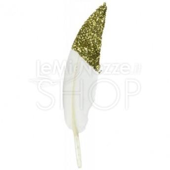 Decorazioni con piume gold 10 pezzi
