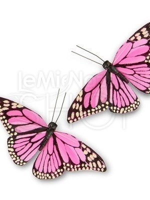 Farfalle decorative rosa 12 pezzi