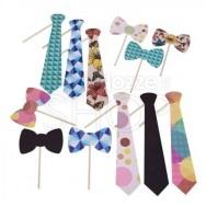 Mascherine divertenti cravatte e papillon 12 pezzi