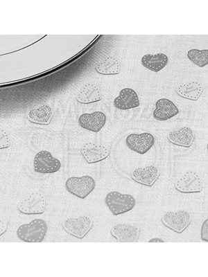 Decorazioni tavola con cuore vintage bianco e argento 10 confezioni