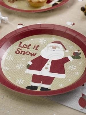 Piatto in carta Babbo Natale 8 pezzi