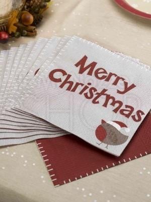 Tovaglioli in carta Merry Christmas 12 pezzi