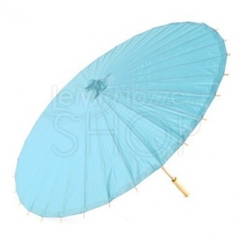 Ombrello parasole azzurro mare in carta e bamboo