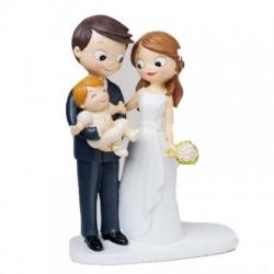 Cake topper sposi con neonato