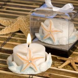 Portacandela con conchiglie e stella marina