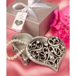Scatoletta a forma di cuore con brillantini e strass