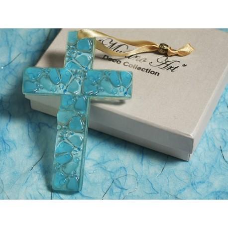 Croce in vetro di Murano azzurra