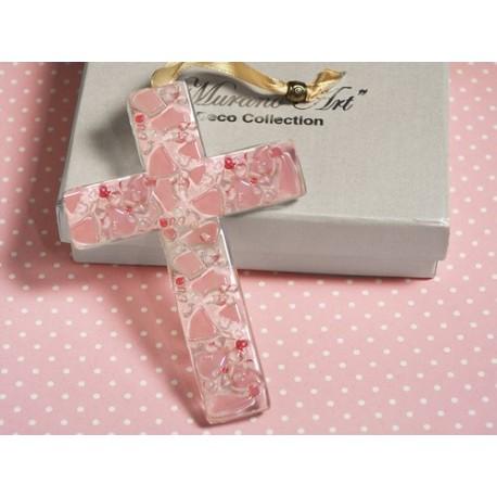 Croce in vetro di Murano rosa