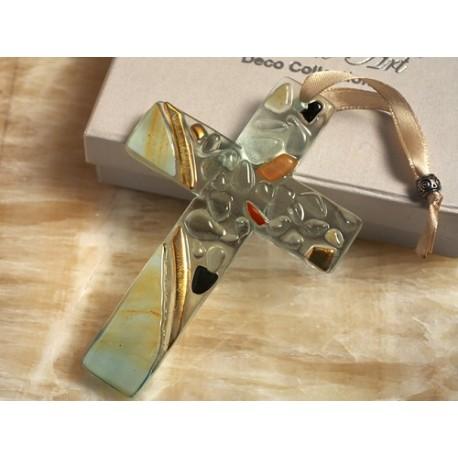 Croce in vetro di Murano dai colori delicatiss Cross