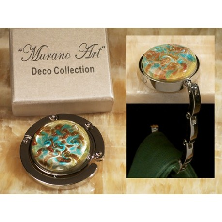 Murano Art Deco Collection Circle Folding Hand Bag Holder Hook
