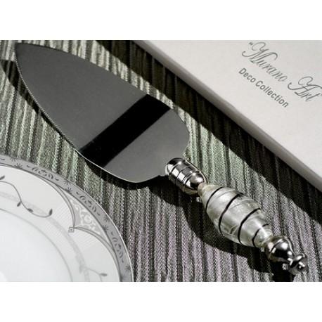 Paletta per torta in argento e vetro di Murano