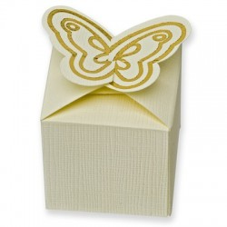 Scatolina per bomboniera con farfalla avorio