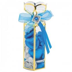 Scatola trasparente con strass e fiocco blu