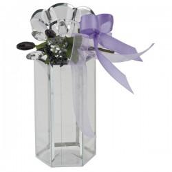Scatola trasparente con fiori e fiocco viola