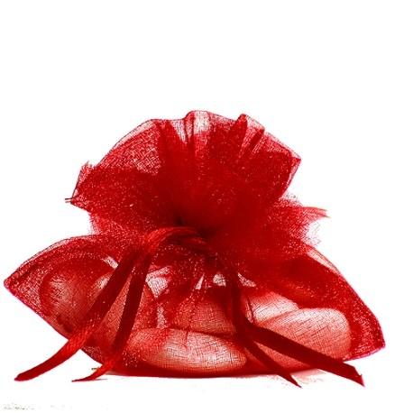 Porta confetti in organza rosso