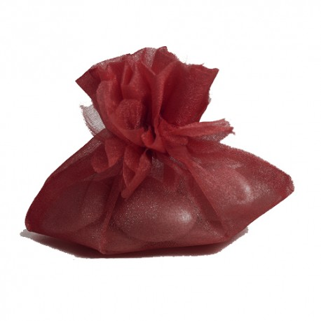 New Petal Top Organza Pouches 10cm X 8cm Burgundy