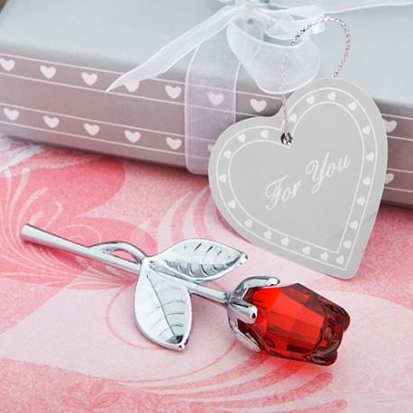 Rosa Rossa in Vetro Cristallo con Gambo Argentato