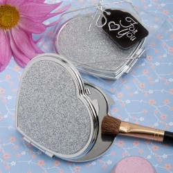 Classy Compacts Collection Heart Design Metal Compact Mirror Favors