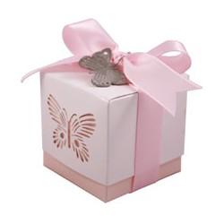 Scatola per bomboniere rosa con farfalla