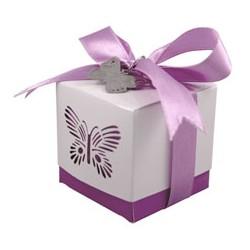 Scatola per bomboniere rosa con farfallar Box