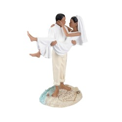 Cake topper per matrimonio in spiaggia e coppia afroamericana