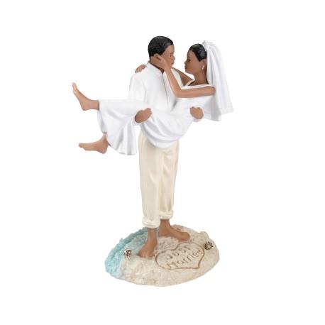 Cake topper per matrimonio da spiagga e coppia afroamericana